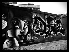 Street Art, Sheffield (firstnameunknown) Tags: portrait urban woman streetart art girl monochrome face graffiti blackwhite mural sheffield enlight pondstreet iphoneography