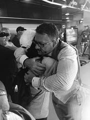 A woman meets Gregg Zaun (former MLB player), BCIT Journalism, Trevor Knapp (trevorknapp16) Tags: baseball zaun mlb media jays