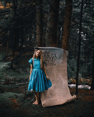 Wonderland (Adam Bird Photography) Tags: adambirdphotography adambird wonderland book page giant fairytale story narrative surreal conceptual fantasy magical onceuponatime woods forest autumn timwalker prop rosiehardy disney alice aliceinwonderland explore blue dress