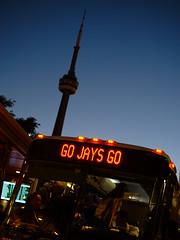 go jays go! (Ian Muttoo) Tags: dsc70531edit toronto gimp ufraw ontario canada night go bus gotransit bluejays torontobluejays cntower bluehour baseball mlb