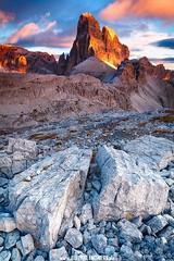 The lonely King (PhilippN.83) Tags: berg mountain dolomiten dolomites sunset sonnenuntergang fels rock stones steine wolken clouds orange alps alpen canon tokina