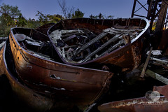 Lifeboats Away (mccrum) Tags: america empirestate newyork northamerica statenisland us usa unitedstates unitedstatesofamerica boat graveyard lightpainting longexposure newyorkcity night rust salvage