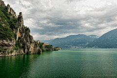 Lake of Iseo near Lovere (Italy) (clodio61) Tags: bergamo europe iseo italy lombardy lovere coast color day lake landscape mountain narrow outdoor photography road rock scenic summer water