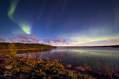 Moonlit Aurora Landscape (josefrancisco.salgado) Tags: 1424mmf28g canada d810a nikkor nikon northernlights northwestterritories yellowknife aurora auroraborealis aurorae auroras cielonocturno estrellas lago lake longexposure moonlight night nightsky reflection reflejo stars fortsmithunorganized ca exposicinlarga