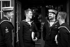 Submariners (Foto John) Tags: leicam leicam240 leica leicamtyp240 rangefinder summicronm50mm2iv blackwhite blackandwhite blackandwhitethatsright monochrome streetphotography people men submariners armedforces sailors london uk
