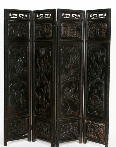 Early Teak Oriental Folding Screen ($476.00)