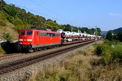 151 129 Hagenacker (4757) (christophschneider1) Tags: kbs990 hagenacker altmhltal oberbayern dbcargo 151 151129 ganzzug autotransport neuwagentransport audi ga52860