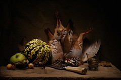 Still Life with Partridges (Sergei Sogokon) Tags: still life partridges sogokon birds knife apples fruit