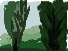 2015.08.02 Two Trees (Julia L. Kay) Tags: nature natural woods trees foliage forest landscape green juliakay julialkay julia kay artist artista artiste knstler art kunst peinture dessin arte woman female sanfrancisco san francisco sketch dibujo daily everyday 365 mobileart mobile idraw isketch iart digital mda iamda mobiledigitalart ipad touchscreen fingerpaint fingerpainter touch tablet iphone idevice ithing procreate procreateapp procreateapponly