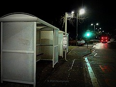 Missed It (Rollingstone1) Tags: 5 dumbarton bus frost cold freezing scotland ice road busstop trafficlights night winter frozen magicbus