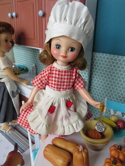 12. Making butternut squash (Foxy Belle) Tags: betsy mccall cook vintage doll thanksgiving holiday kitchen diorama 16 playscale miniature turquoise food barbie furniture scene aprons retro