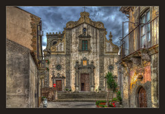 The Cathedral of Forza d'Agro (Kevin, from Manchester) Tags: architecture building canon1855mm clouds godfather hdr harbour historical italy kevinwalker messina panorama photoborder port sea sicily sky forza church