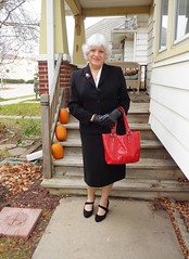 Sure, There Are Days When I Wish To Blend . . . (Laurette Victoria) Tags: woman suit silver gloves purse laurette milwaukee sidewalk