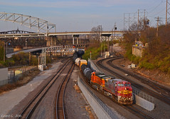 """Southbound Transfer in Kansas City, MO (""""Righteous"""" Grant G.) Tags: bnsf atsf santa fe railroad railway locomotive train trains south southbound transfer freight kansas city missouri ge power warbonnet incline track"""