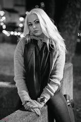 (Øyvind Bjerkholt (Thanks for 33 million+ views)) Tags: outdoors night canon 50mm bokeh dof beautiful sexy sensual gorgeous pretty woman girl female she blonde blackwhite bw mood arendal norway ambientlight portrait glamour fashion