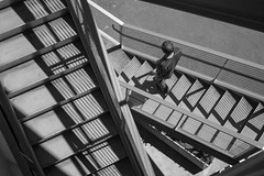 staircase and shadows and my sweetheart (lydiafairy) Tags: summer blackandwhite bw monochrome stairs shadows staircase tacoma sweetheart tam tacomaartmuseum