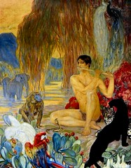 Clmentine-Hlne Dufau (1869-1937) - Zoologie (19xx) (custom colorized version) (ketrin1407) Tags: elephant youth forest painting naked nude cobra parrot peacock flute leopard jungle baboon 20thcentury panther loincloth sorbonne symbolism zoology early20thcentury clementinedufau