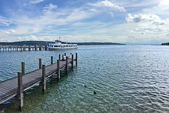 Two Docks, One Ferry (AntyDiluvian) Tags: trip lake alps ferry germany munich deutschland dock chilling german starnberg muenchen starnbergersee 2015 lakestarnberg
