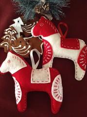 Nordic Felt Embroidered Dala Horse Ornament (LookHappyShop) Tags: christmas red horse white handmade decoration felt ornament nordic etsy embroidered scandinavian dala