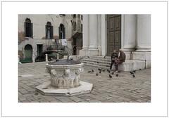 Sitting with Pigeons (Pictures from the Ghost Garden) Tags: street venice windows people urban color colour birds architecture buildings landscape nikon doors pigeons wells dslr venezia urbanlandscape cannaregio 18105mm d7100 wellheads