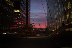 Oslo (morten f) Tags: road city railroad sunset red sky building water station oslo norway skyline architecture train buildings norge is waterfront outdoor dusk s structure infrastructure barcode tog hst solnedgang ours kveld 2015 rdt