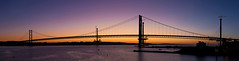 Blue Hour Hues (Kyoshi Masamune) Tags: uk sunset panorama seascape scotland pier fife forth firth firthofforth southqueensferry northqueensferry forthroadbridge kingdomoffife canon50mm14 citypanorama fifecoast forthreplacementcrossing queensferrycrossing kyoshimasamune