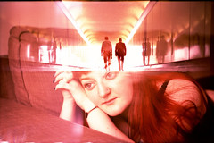 on my mind (fotobes) Tags: portrait people woman men london reflections hair walking lights lca xpro crossprocessed model doubleexposure crossprocess tunnel lingerie nosering analogue imax fujivelvia100 zenite ratseyeview filmswap internationalfilmswap chinscraper lafillerenne spookyvalentine