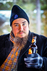 Jon (Miika Jrvinen) Tags: portrait beer scarf canon beard 55mm 12 55 fd f12 porkkala ywg canonfd5512ssc porkkanniemi