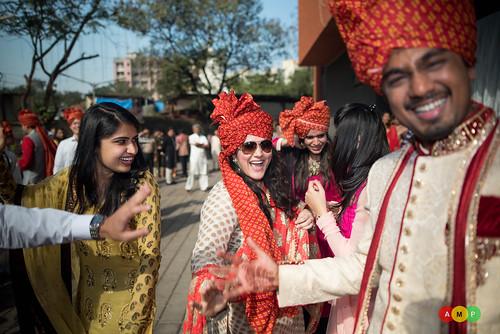 Nirav and his friend rejoicing in Baraat