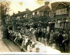 VE Day celebrations, Beckenham, May 1945 (The Wright Archive) Tags: world road street uk houses party two england people london history austen century vintage children war day jennifer wwii may hilary archive ve celebrations 1940s wright 1945 doris forties mavis merrick 40s wartime secondworldwar beckenham clockhouse twentieth 8may1945 holeman