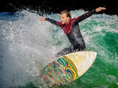 Eisbach Surfing (acahaya) Tags: munich surfing riversurfingeisbach wet water splash sports