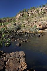 Nitmiluk - end of first gorge (cathm2) Tags: australia nt katherine nitmiluk nationalpark travel water gorge rocks cliffs nature scenery landscape outdoors