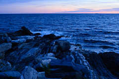 night shore (andymudrak) Tags: night blue landscape sunset water clouds evening rocks shore coast ocean waves