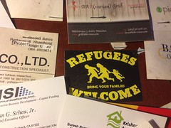 Refugees Welcome (jcbkk1956) Tags: namecard refugees noticeboard callingcard businesscards sukhumvitrd bangkok thailand welcome families immigration immigrants migration cheapcharlies bar