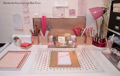 I did some very inexpensive DIY to my desk area downstairs. It's very motivational to have a bright, organized space to work. The back is just foam core, because my late sister's dollhouse is behind it, and I can remove the foam core to access it. (wpnschick) Tags: desk deskaccessories pinkandgold rosegold hollywoodregency