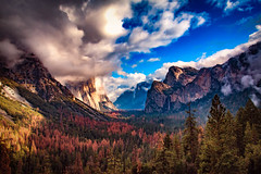 Yosemite Valley, Fall (J*Phillips) Tags: california landscape yosemite waterfall forest nationalpark mountains sky sierras trees backgrounds clouds drama