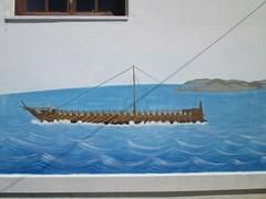 20160805_006 (a1pha_gr) Tags: ελλάδα σποράδεσ σκόπελοσ γλώσσα greece sporades skopelos glossa κτίριακτίσματα buildings σχολείο τοίχοι school wall γκράφιτι graffiti θάλασσα πλοίο sea ship