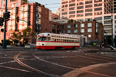Going Downtown (Geoff Livingston) Tags: cable car transportation railroad sanfrancisco downtown cityscape morning panning