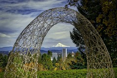 On a clear day (Jim JP Hansen) Tags: dsc00518 portlandjapanesegarden sculpture mthood