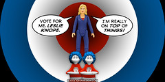 PopFig: Vote Knope! (JD Hancock) Tags: jdhancock popfig comics lol webcomics geeky photocomics fun funny parksandrecreation leslieknope thing1 thing2 drseuss
