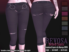 REVOSA Belted Capris (merylimperil) Tags: secondlife revosa capris short pants omega appliers applier red purple pink green blue black autumn ladies women clothing apparel