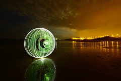 Orb scrutinises Quornflake. (- Hob -) Tags: lightpainting longexposure singleexposure tynemouth beach northtyneside lowtide lightpollution orb led sooc nopostprocessing nophotoshop 9462