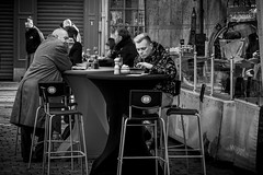 Take a look (_MootMoot_) Tags: gent gand belgique belgium blackwhite bw take look ipad guys guy eating