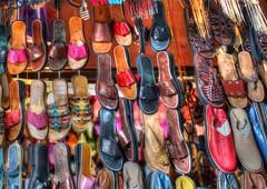 Babouches en stock (samder76) Tags: color happy colorful market couleurs maroc marocco marrakech souk march souq hdr babouches cuir mdina