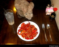 Dr. Takeshi Yamada and Seara (Coney Island Sea Rabbit) at the Seaport Chinese Buffet Restaurant in Sheepshead Bay in Brooklyn, NY on September 8, 2015. New Orleans style crawfish. 20150908 100_9939=0020rC (searabbits23) Tags: ny newyork sexy celebrity art hat fashion animal brooklyn painting sushi asian coneyisland japanese star restaurant tv google king artist dragon god manhattan wildlife famous gothic goth chinese performance pop taxidermy cnn tuxedo bikini tophat unitednations playboy entertainer samurai genius buffet mermaid amc johnnydepp mardigras salvadordali unicorn billclinton billgates aol vangogh curiosities sideshow jeffkoons globalwarming takashimurakami pablopicasso steampunk damienhirst cryptozoology freakshow barackobama seara immortalized takeshiyamada museumofworldwonders roguetaxidermy searabbit ladygaga climategate minnesotaassociationofroguetaxidermists