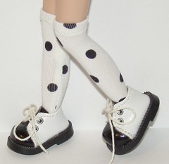 Tall Black And White Polk A Dot Socks For Blythe...