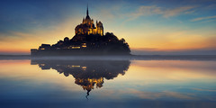 Kingdom of Tides (Lee Sie) Tags: ocean sunset sea sky lake france reflection castle water clouds sunrise river french brittany europe abby tide normandy lemontsaintmichel