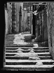 Old City Stairway (Warriorwriter) Tags: square israel alley shadows palestine westbank muslim jerusalem middleeast christian arab lane jewish conflict ilford israeli oldcity levant palestinian fp4plus