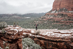 I'm not Afraid (Styggiti) Tags: travel winter arizona usa snow arch desert hiking sedona naturalbridge lemonjelly devilsbridge 2015