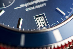 SUPEROCEAN HRITAGE (date) (johnhjic) Tags: blue red white clock face wheel silver studio nikon time swiss steel flash watch dial indoor timepiece wristwatch date stainless craftsmanship reflaction breitling timekeeper broncolor johnhjic d800e